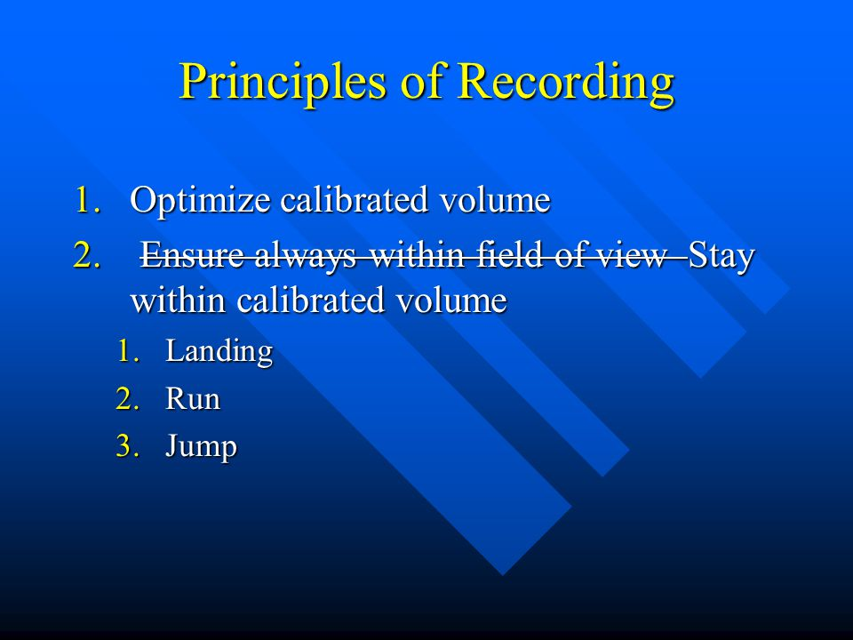 Principles of Recording 1.Optimize calibrated volume 2.
