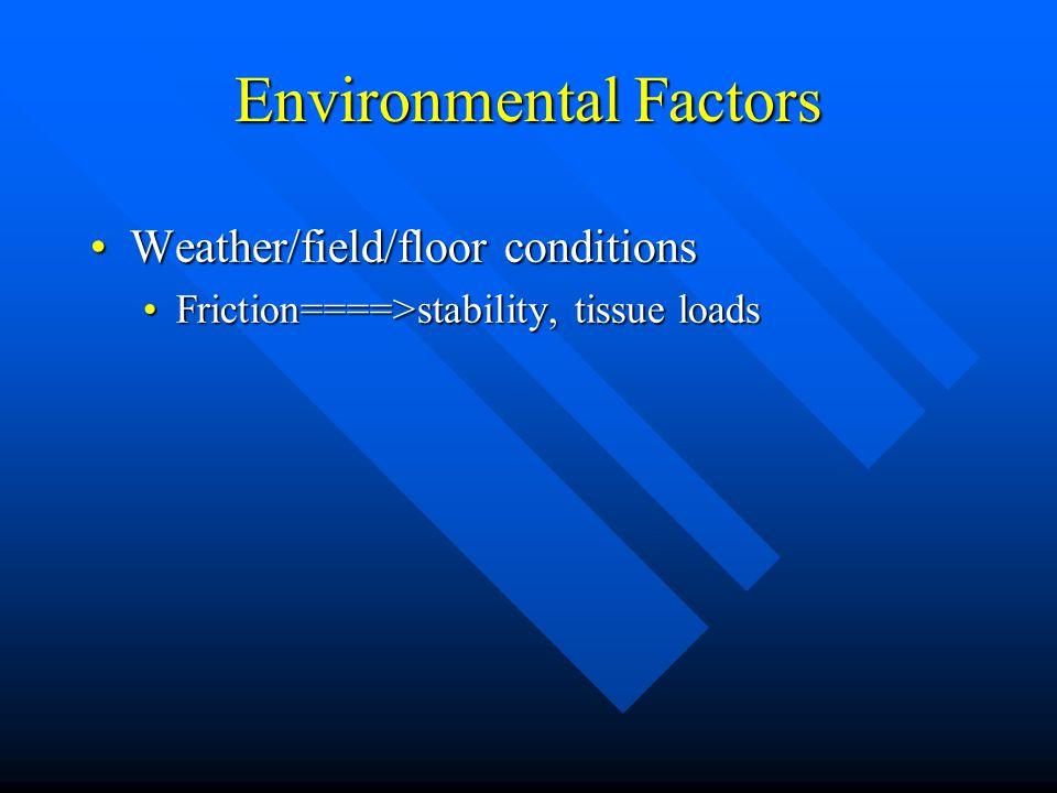 Environmental Factors Weather/field/floor conditionsWeather/field/floor conditions GravityGravity space travel & platformsspace travel & platforms