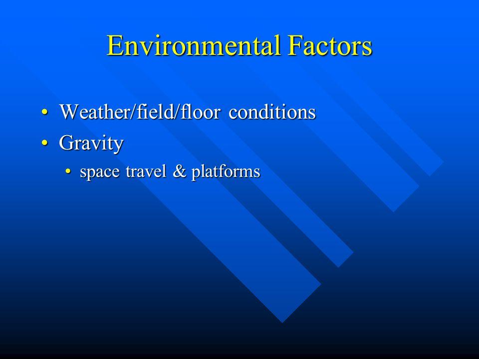 Environmental Factors Weather/field/floor conditionsWeather/field/floor conditions GravityGravity Open/closed taskOpen/closed task dynamic vs.