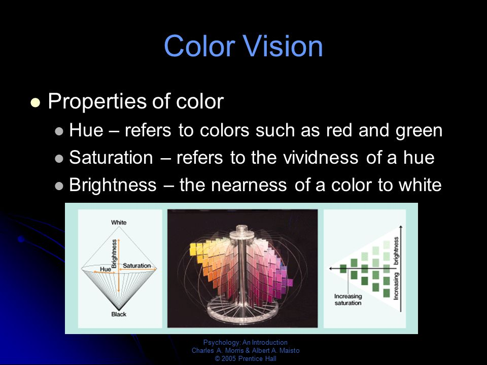 Psychology: An Introduction Charles A. Morris & Albert A. Maisto © 2005 Prentice Hall Color Vision Properties of color Hue – refers to colors such as