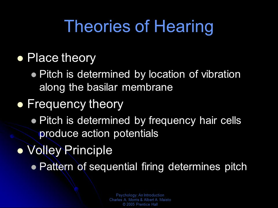 Psychology: An Introduction Charles A. Morris & Albert A. Maisto © 2005 Prentice Hall Theories of Hearing Place theory Pitch is determined by location
