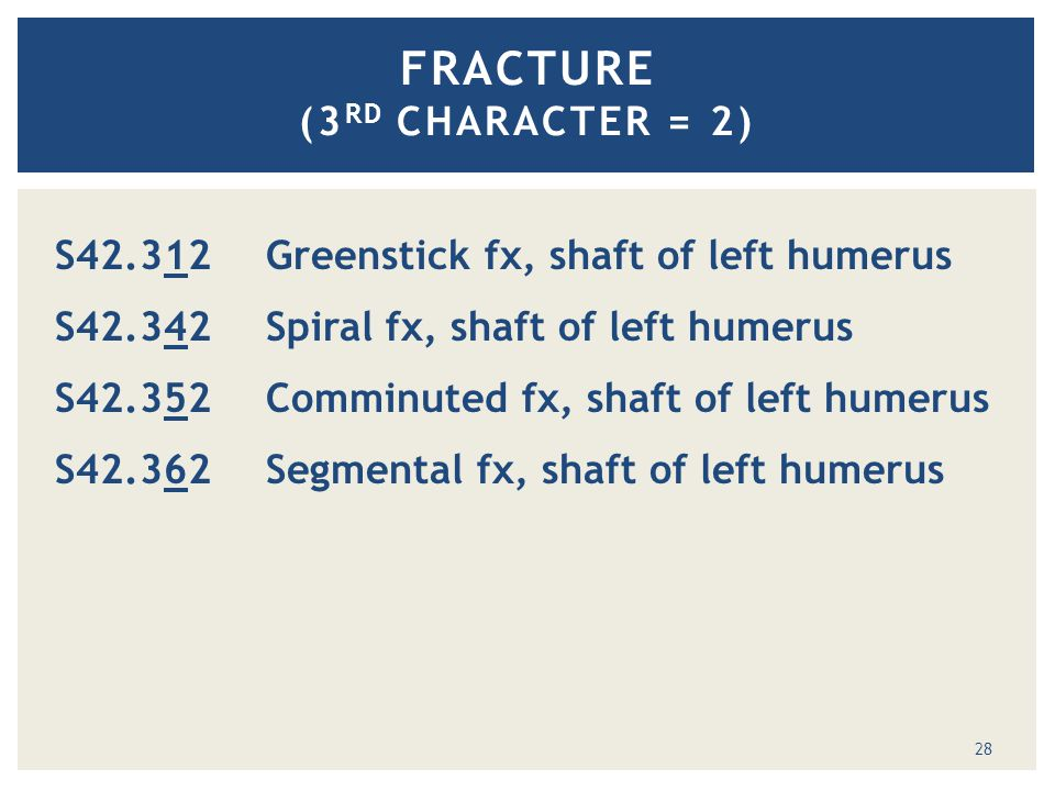 FRACTURE (3 RD CHARACTER = 2) S42.312 Greenstick fx, shaft of left humerus S42.342 Spiral fx, shaft of left humerus S42.352 Comminuted fx, shaft of left humerus S42.362 Segmental fx, shaft of left humeruss 28