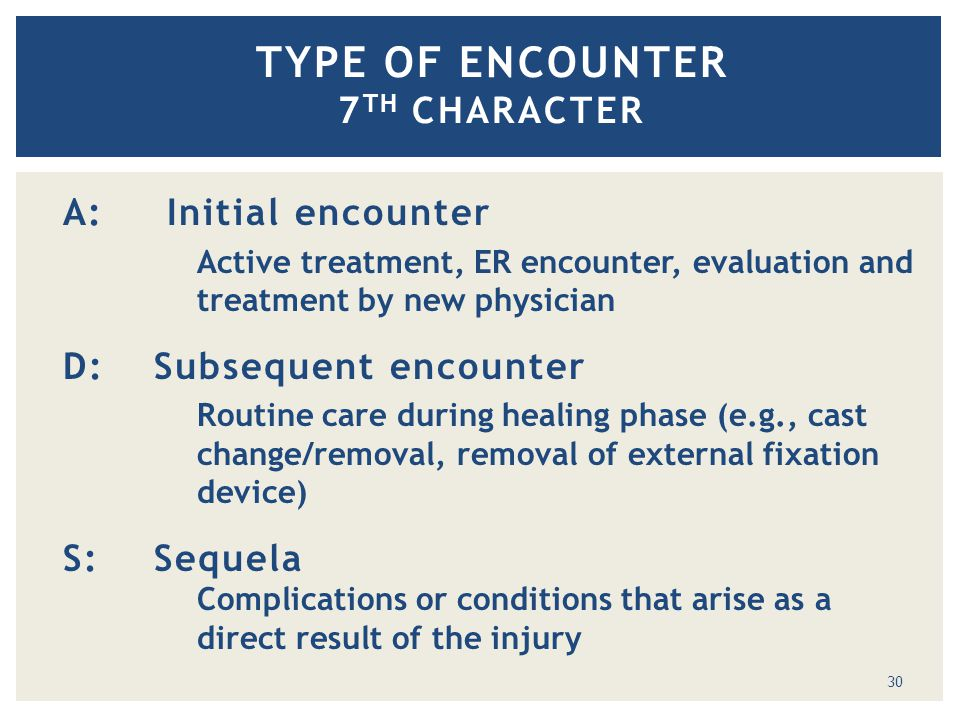 TYPE OF ENCOUNTER 7 TH CHARACTER A: Initial encounter Active treatment, ER encounter, evaluation and treatment by new physician D:Subsequent encounter Routine care during healing phase (e.g., cast change/removal, removal of external fixation device) S:Sequela Complications or conditions that arise as a direct result of the injury of an injury 30