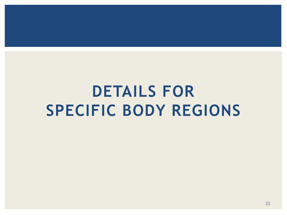 DETAILS FOR SPECIFIC BODY REGIONS 33