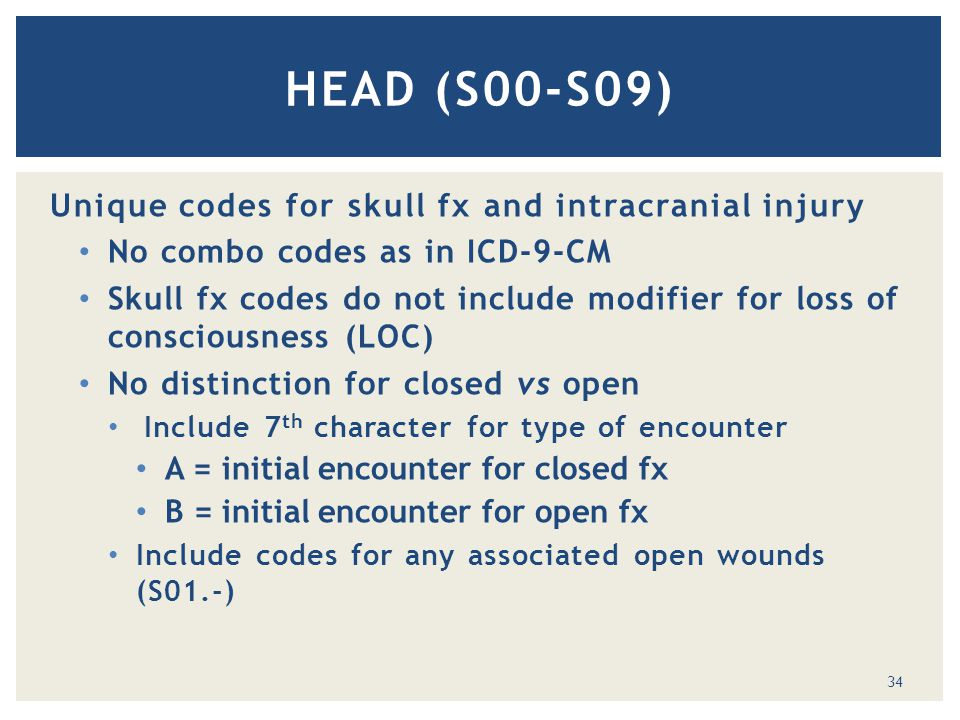 Unique codes for skull fx and intracranial injury No combo codes as in ICD-9-CM Skull fx codes do not include modifier for loss of consciousness (LOC) No distinction for closed vs open Include 7 th character for type of encounter A = initial encounter for closed fx B = initial encounter for open fx Include codes for any associated open wounds (S01.-) HEAD (S00-S09) 34