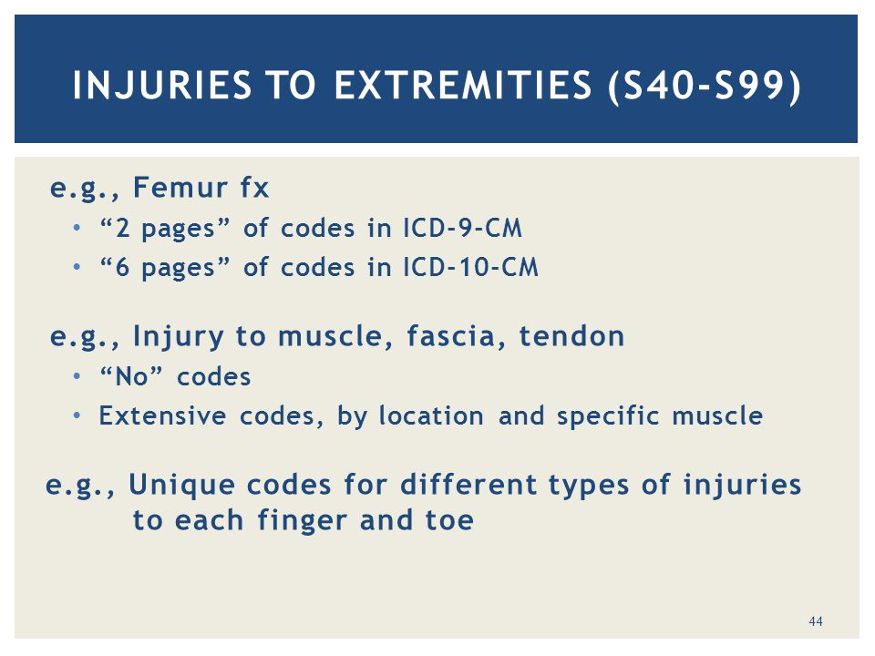 e.g., Femur fx 2 pages of codes in ICD-9-CM 6 pages of codes in ICD-10-CM e.g., Injury to muscle, fascia, tendon No codes Extensive codes, by location and specific muscle e.g., Unique codes for different types of injuries to each finger and toe INJURIES TO EXTREMITIES (S40-S99) 44