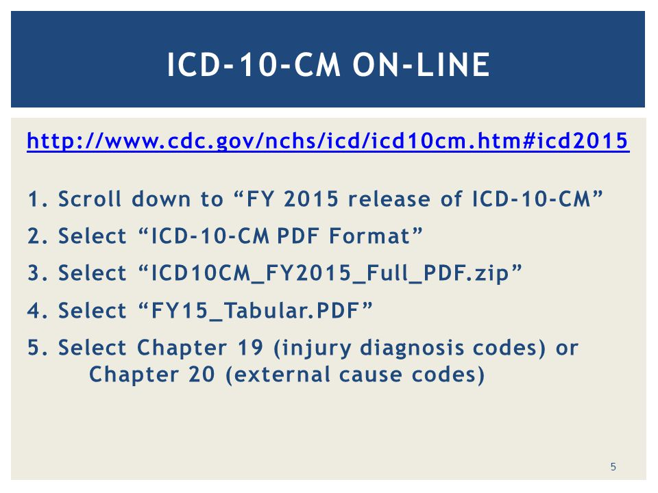 "http://www.cdc.gov/nchs/icd/icd10cm.htm#icd2015 1. Scroll down to ""FY 2015 release of ICD-10-CM"" 2. Select ""ICD-10-CM PDF Format"" 3. Select ""ICD10CM_F"
