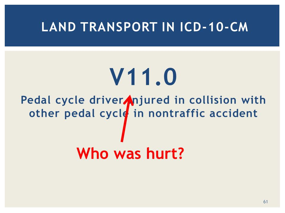 V11.0 Pedal cycle driver injured in collision with other pedal cycle in nontraffic accident LAND TRANSPORT IN ICD-10-CM Who was hurt.
