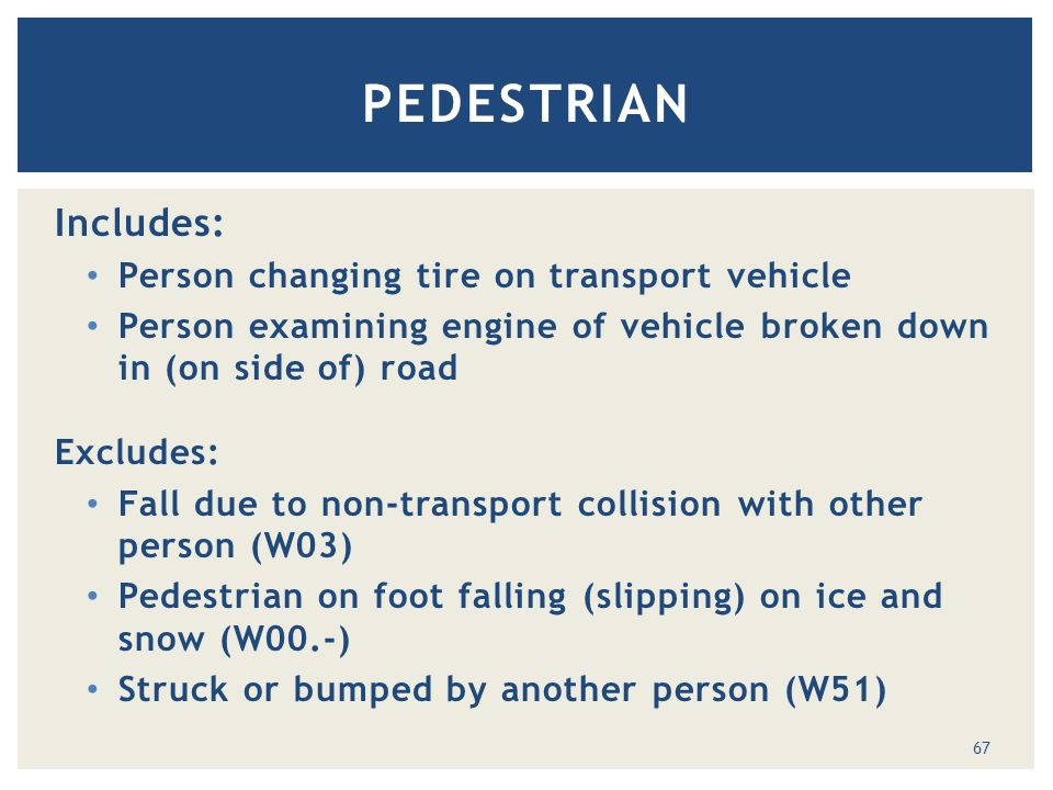 Includes: Person changing tire on transport vehicle Person examining engine of vehicle broken down in (on side of) road Excludes: Fall due to non-transport collision with other person (W03) Pedestrian on foot falling (slipping) on ice and snow (W00.-) Struck or bumped by another person (W51) PEDESTRIAN 67