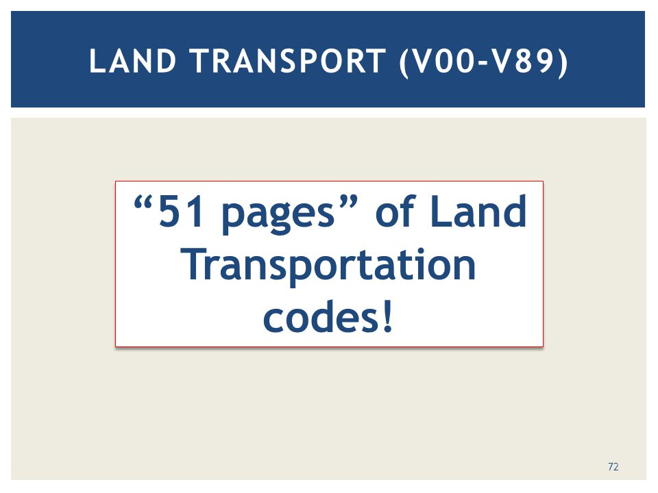 LAND TRANSPORT (V00-V89) 51 pages of Land Transportation codes! 72