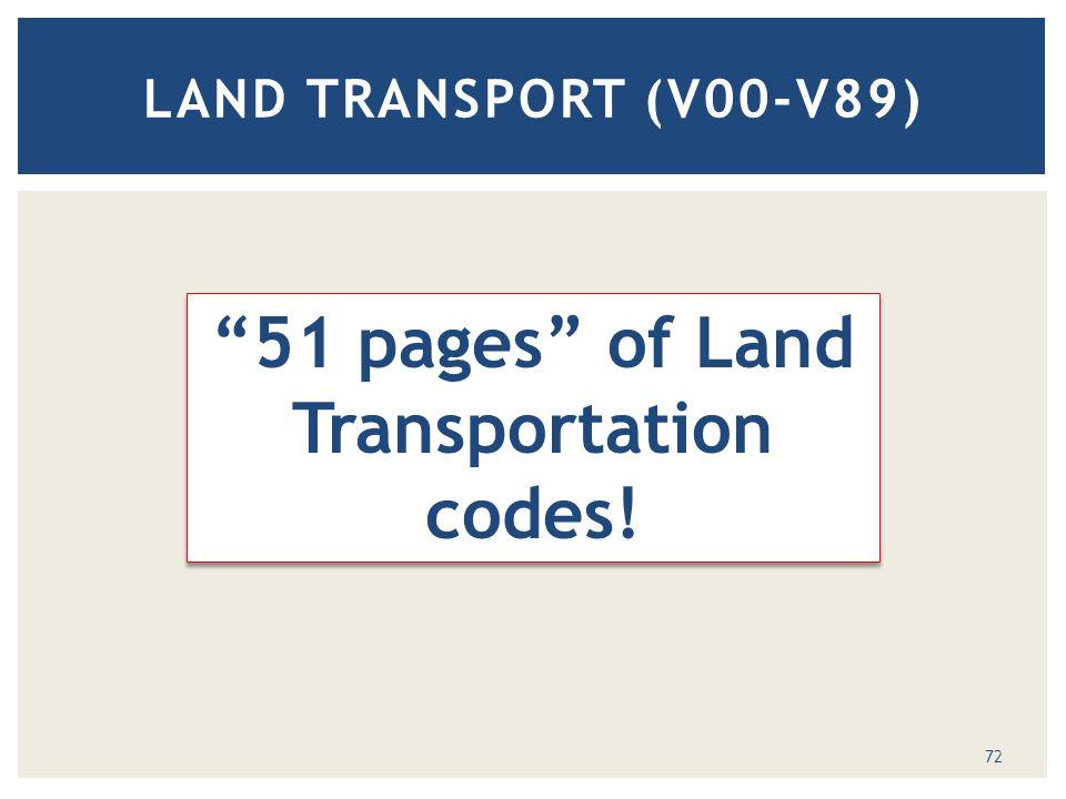 LAND TRANSPORT (V00-V89) 51 pages of Land Transportation codes! 72