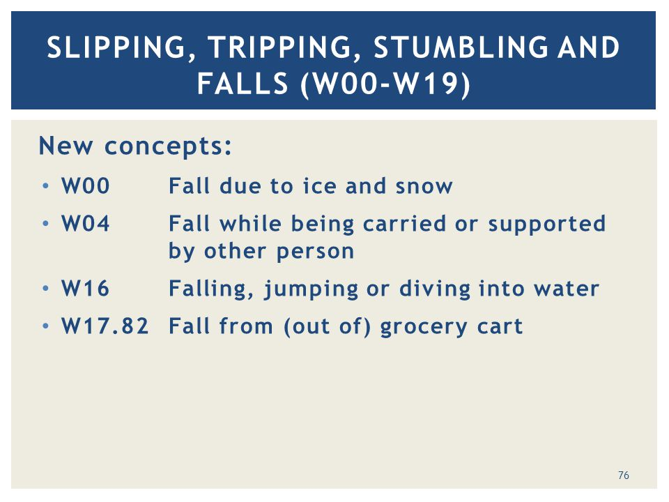 New concepts: W00Fall due to ice and snow W04Fall while being carried or supported by other person W16Falling, jumping or diving into water W17.82Fall from (out of) grocery cart SLIPPING, TRIPPING, STUMBLING AND FALLS (W00-W19) 76