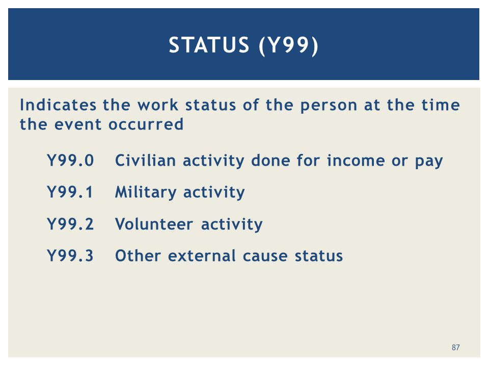 Indicates the work status of the person at the time the event occurred Y99.0 Civilian activity done for income or pay Y99.1Military activity Y99.2Volunteer activity Y99.3Other external cause status STATUS (Y99) 87