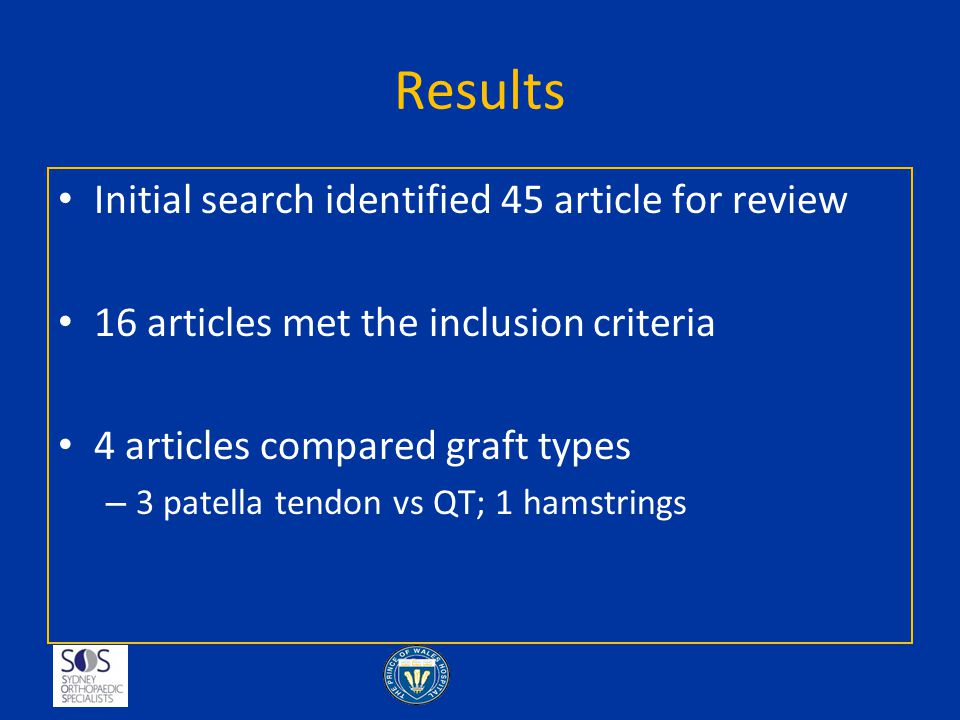 Results Initial search identified 45 article for review 16 articles met the inclusion criteria 4 articles compared graft types – 3 patella tendon vs Q