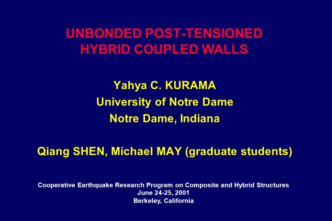 UNBONDED POST-TENSIONED HYBRID COUPLED WALLS Yahya C.
