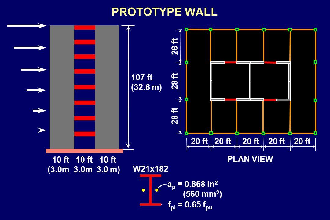 PROTOTYPE WALL W21x182 a p = 0.868 in 2 (560 mm 2 ) f pi = 0.65 f pu 10 ft 10 ft 10 ft 107 ft (32.6 m) (3.0m 3.0m 3.0 m) PLAN VIEW 20 ft 20 ft 20 ft 20 ft 20 ft 28 ft 28 ft 28 ft