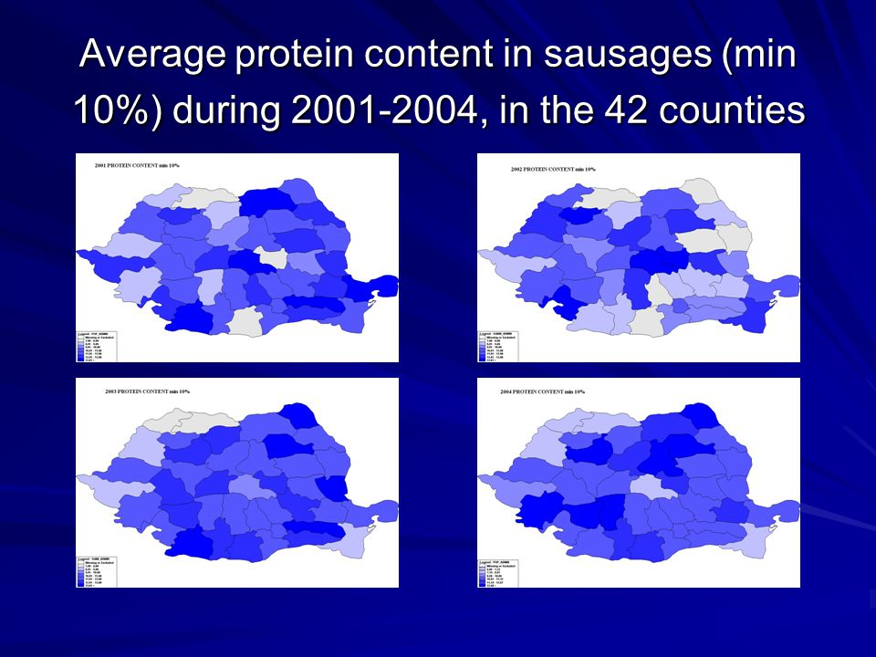 Average protein content in sausages (min 10%) during 2001-2004, in the 42 counties