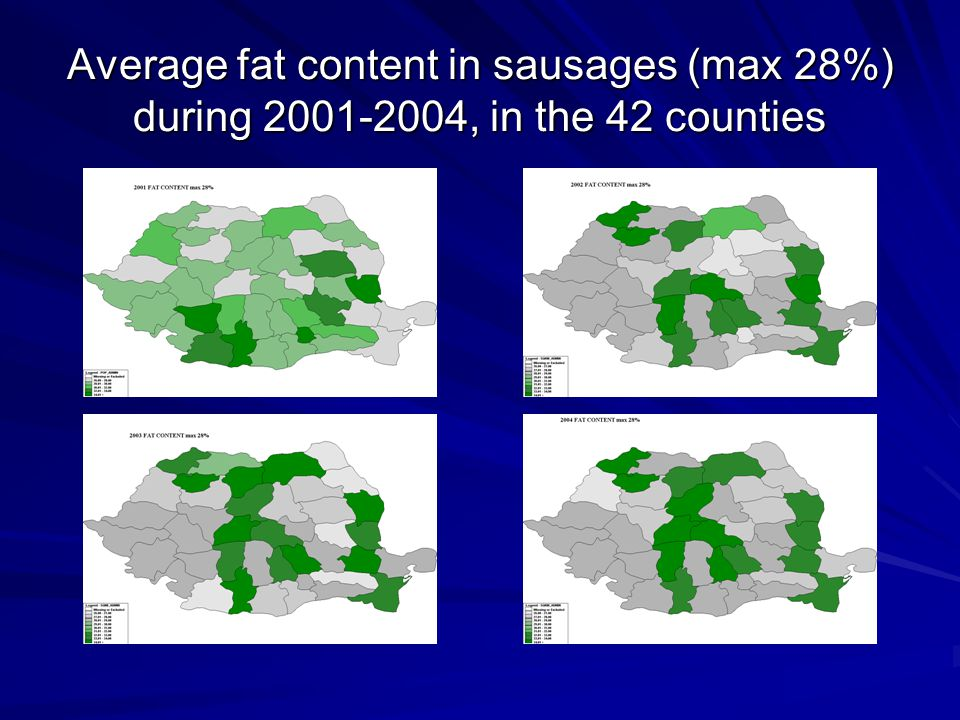 Average fat content in sausages (max 28%) during 2001-2004, in the 42 counties