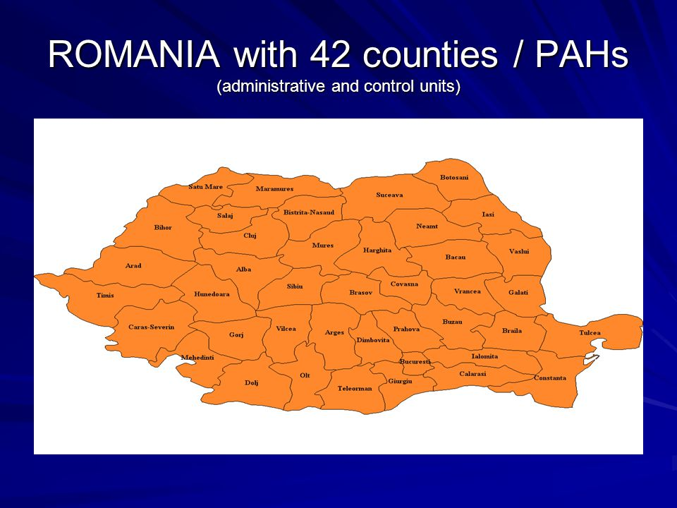 ROMANIA with 42 counties / PAHs (administrative and control units)
