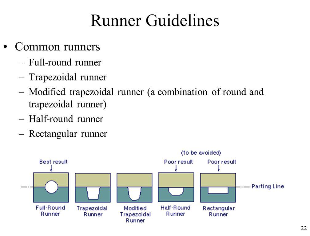 22 Runner Guidelines Common runners –Full-round runner –Trapezoidal runner –Modified trapezoidal runner (a combination of round and trapezoidal runner