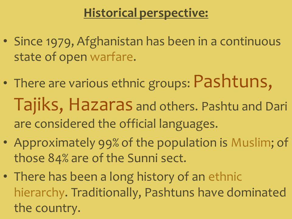 Historical perspective: Since 1979, Afghanistan has been in a continuous state of open warfare.
