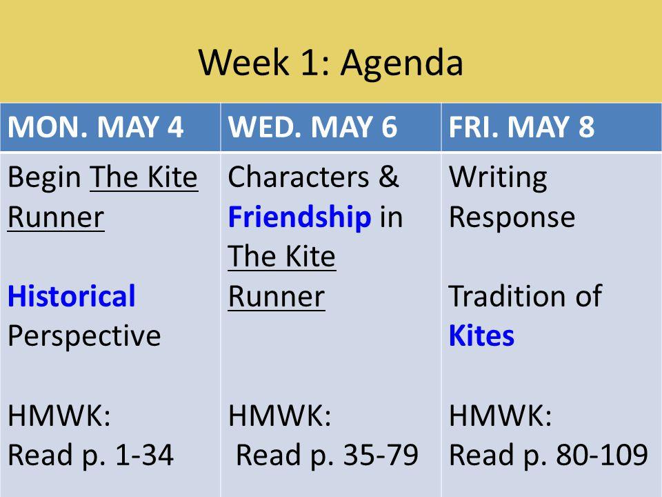 Week 1: Agenda MON. MAY 4WED. MAY 6FRI.