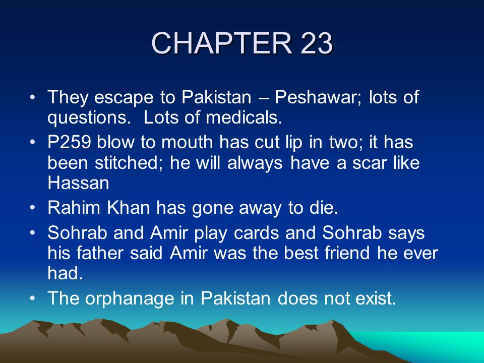 CHAPTER 23 They escape to Pakistan – Peshawar; lots of questions.
