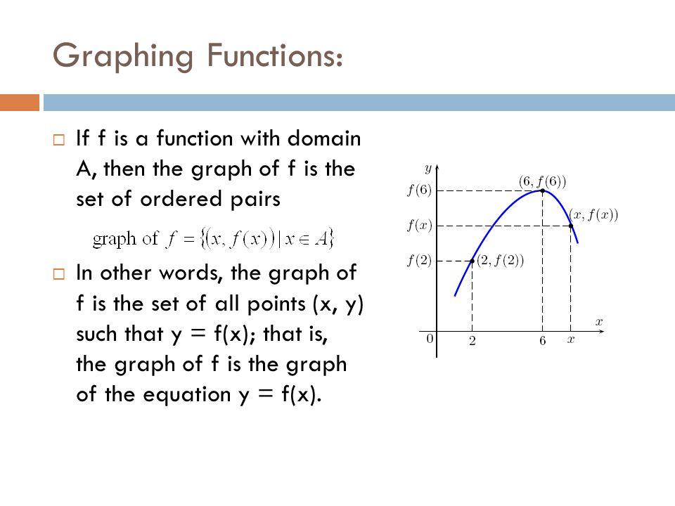 Graphing Functions:  If f is a function with domain A, then the graph of f is the set of ordered pairs  In other words, the graph of f is the set of