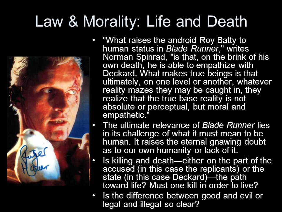 Law & Morality: Life and Death What raises the android Roy Batty to human status in Blade Runner, writes Norman Spinrad, is that, on the brink of his own death, he is able to empathize with Deckard.