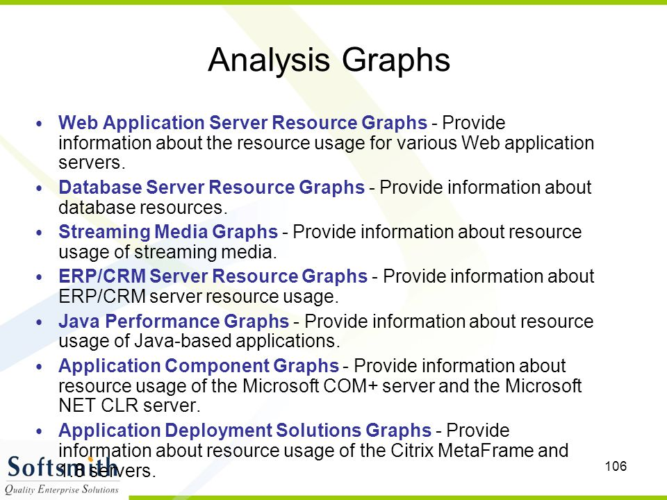 106 Analysis Graphs Web Application Server Resource Graphs - Provide information about the resource usage for various Web application servers. Databas