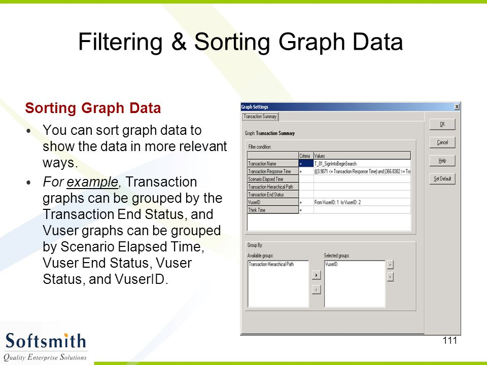 111 Filtering & Sorting Graph Data Sorting Graph Data You can sort graph data to show the data in more relevant ways. For example, Transaction graphs