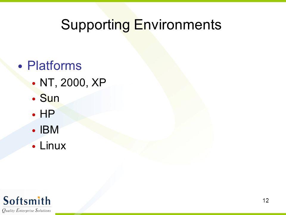 12 Supporting Environments Platforms NT, 2000, XP Sun HP IBM Linux
