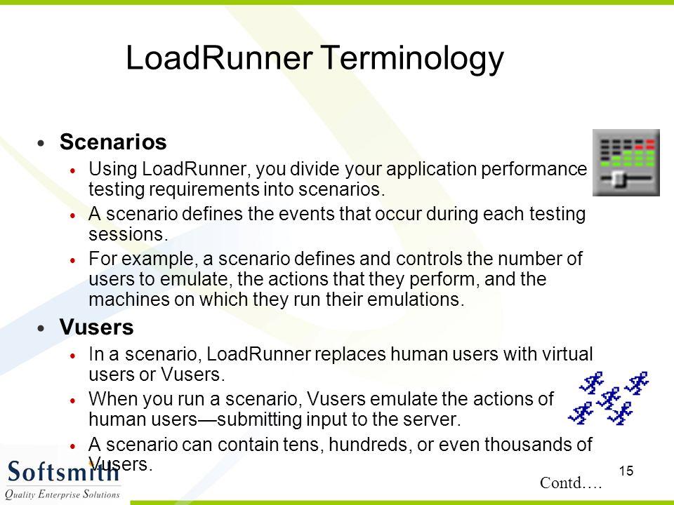 15 LoadRunner Terminology Scenarios Using LoadRunner, you divide your application performance testing requirements into scenarios. A scenario defines