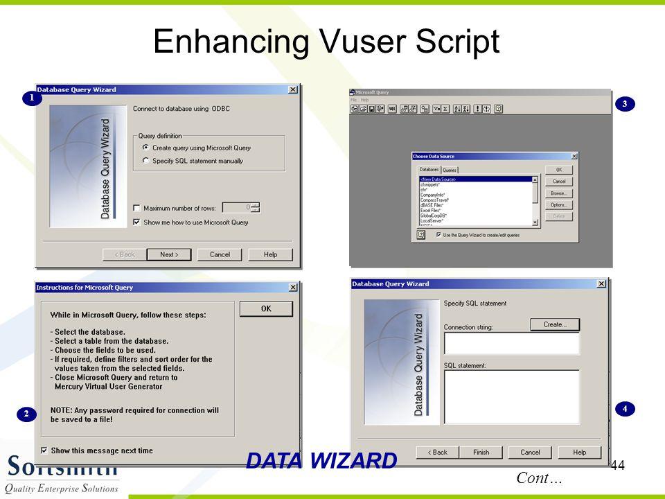 44 Enhancing Vuser Script DATA WIZARD Cont… 1 2 3 4
