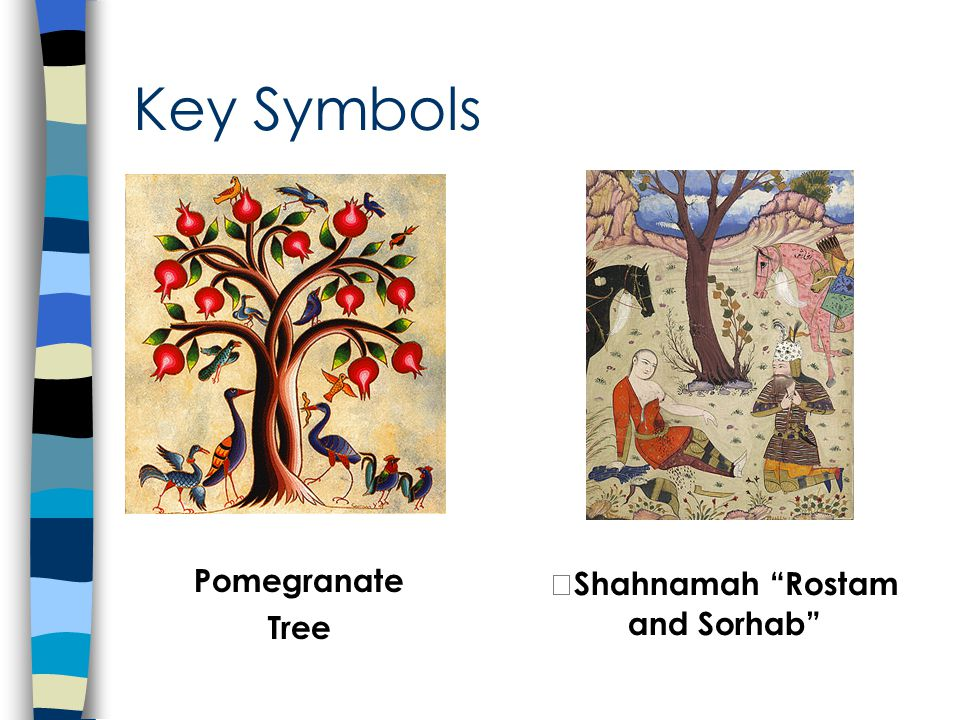 Key Symbols Pomegranate Tree Shahnamah Rostam and Sorhab