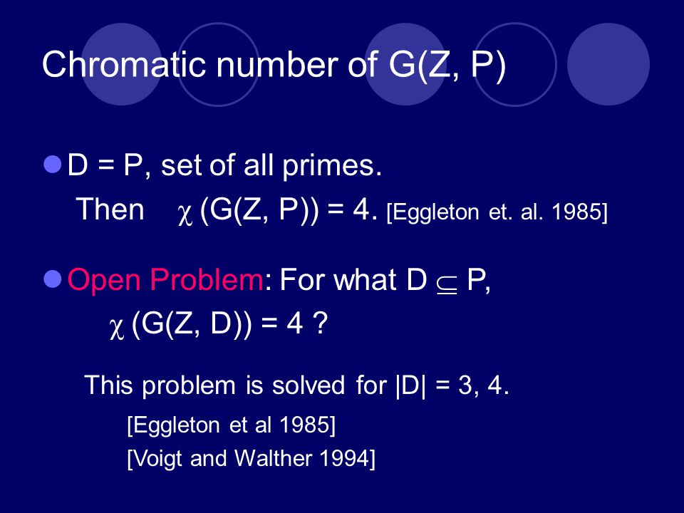 Chromatic number of G(Z, P) D = P, set of all primes.