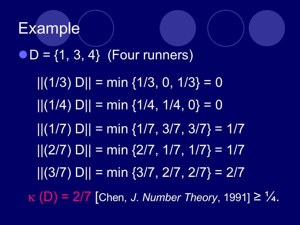 Example D = {1, 3, 4} (Four runners) ||(1/3) D|| = min {1/3, 0, 1/3} = 0 ||(1/4) D|| = min {1/4, 1/4, 0} = 0 ||(1/7) D|| = min {1/7, 3/7, 3/7} = 1/7 |