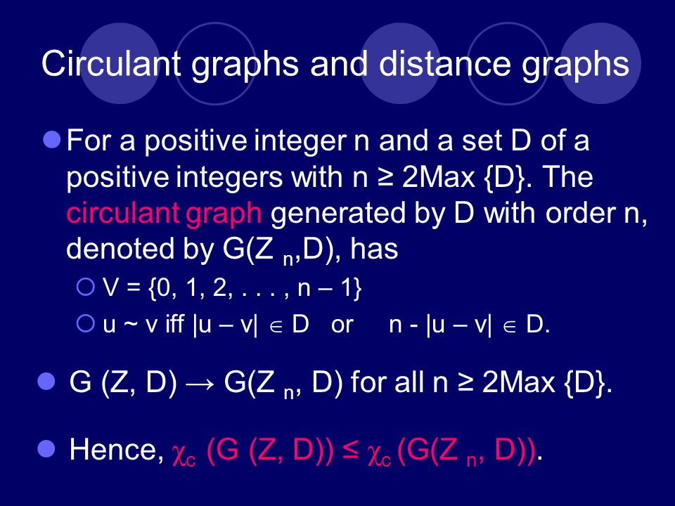 Circulant graphs and distance graphs For a positive integer n and a set D of a positive integers with n ≥ 2Max {D}.