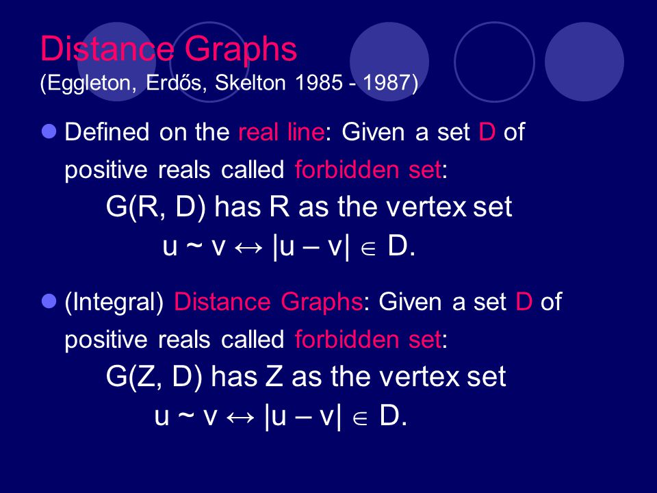 Distance Graphs (Eggleton, Erdős, Skelton 1985 - 1987) Defined on the real line: Given a set D of positive reals called forbidden set: G(R, D) has R a