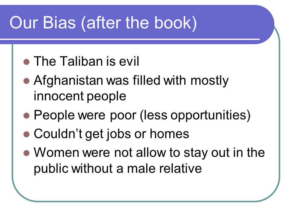 Conflict in Novel The Sunnis against the Shi'ites -The Taliban take Hazaras as lower classes.
