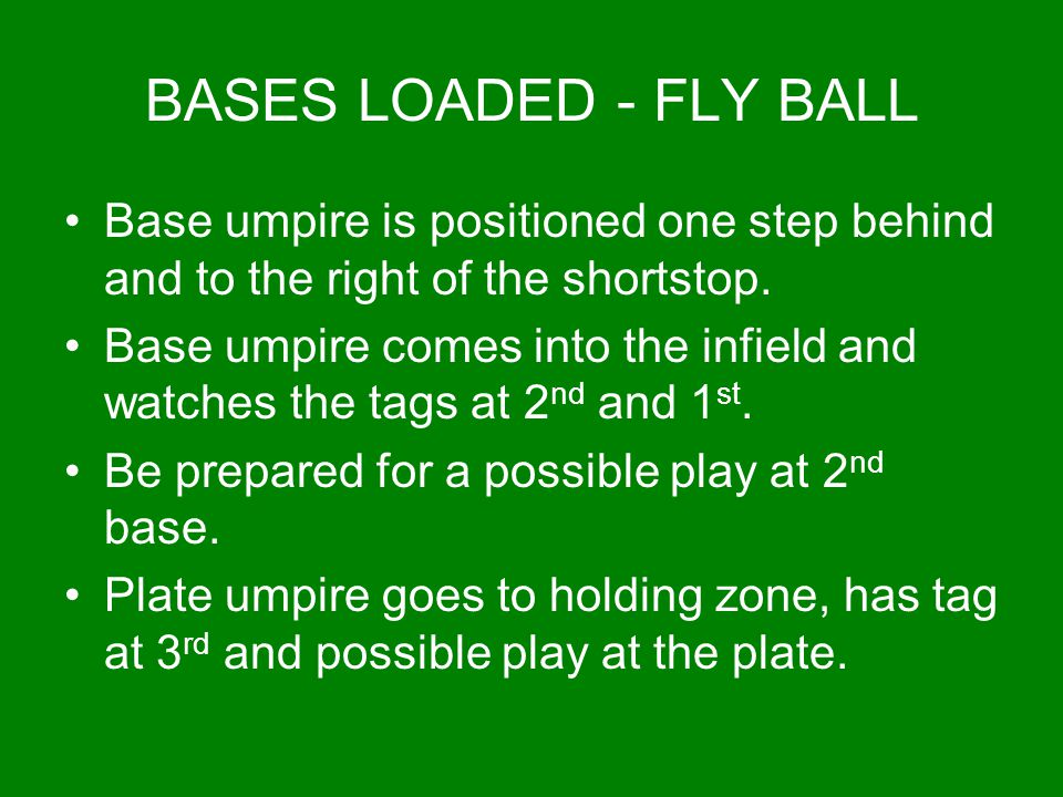 BASES LOADED - FLY BALL Base umpire is positioned one step behind and to the right of the shortstop. Base umpire comes into the infield and watches th