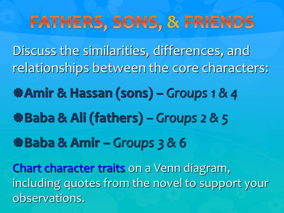 Discuss the similarities, differences, and relationships between the core characters:  Amir & Hassan (sons) – Groups 1 & 4  Baba & Ali (fathers) – Groups 2 & 5  Baba & Amir – Groups 3 & 6 Chart character traits on a Venn diagram, including quotes from the novel to support your observations.