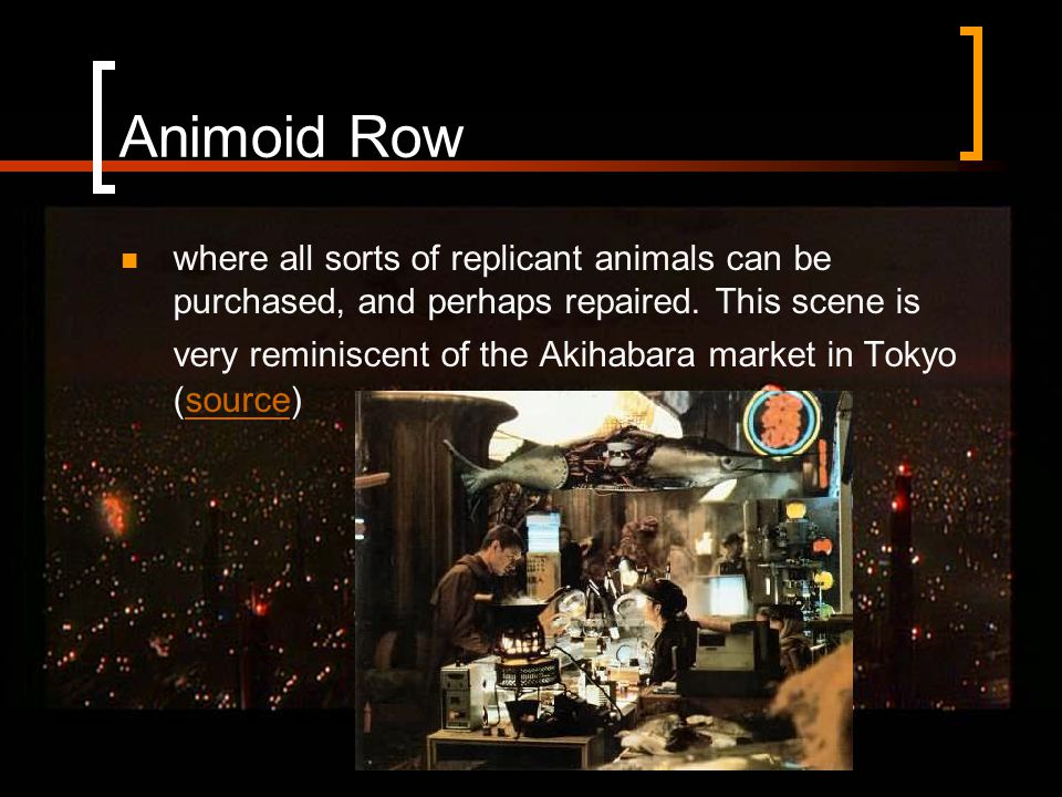 Animoid Row where all sorts of replicant animals can be purchased, and perhaps repaired.