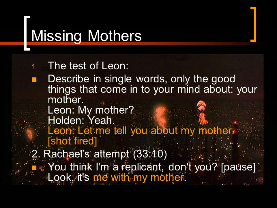Missing Mothers 1.