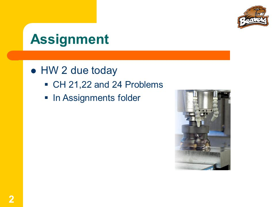 Assignment HW 2 due today  CH 21,22 and 24 Problems  In Assignments folder 2