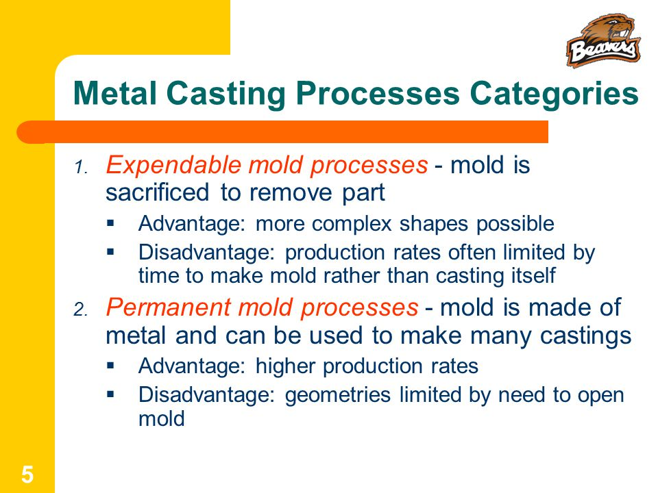5 Metal Casting Processes Categories 1.