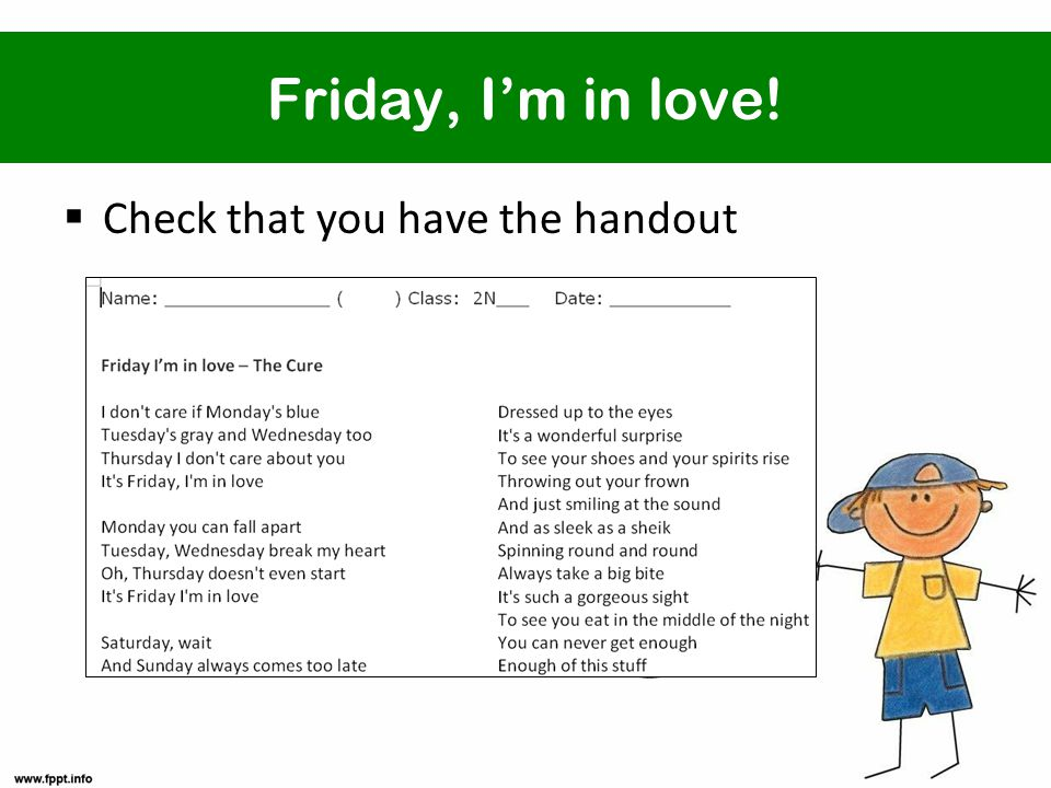 Friday, I'm in love!  Check that you have the handout