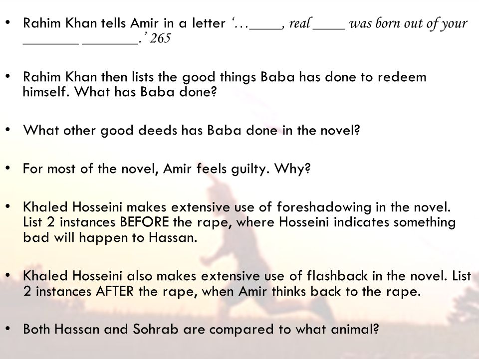search for redemption kite runner essay In the kite runner by kahled hosseini, there is a recurring theme of redemption that is portrayed by various literary devices kahled excellently juxtaposes devices such as irony, symbolism, and foreshadowing to show redemption within his first novel.