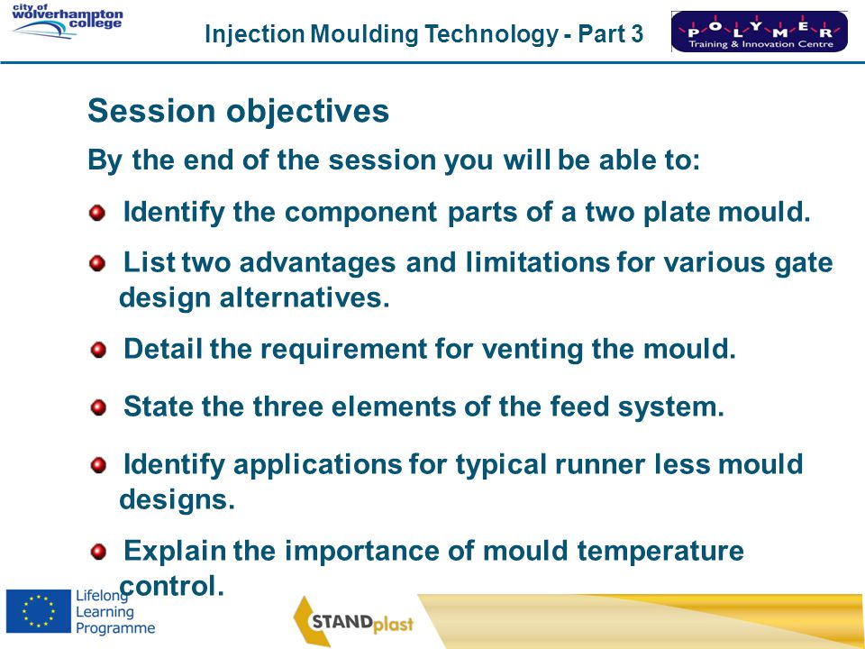 Injection Moulding Technology - Part 3 CoWC 0410 Classifying plastics Thermosets Example - Bakelite Curing/solidification Heat & Pressure Cross-linking reaction Flows due to pressureHeat Melt
