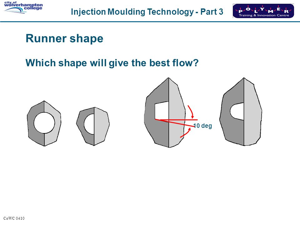 Injection Moulding Technology - Part 3 CoWC 0410 Runner shape Which shape will give the best flow? 10 deg